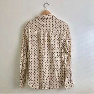 Silky Patterned Lucky Brand Long Sleeve Blouse S